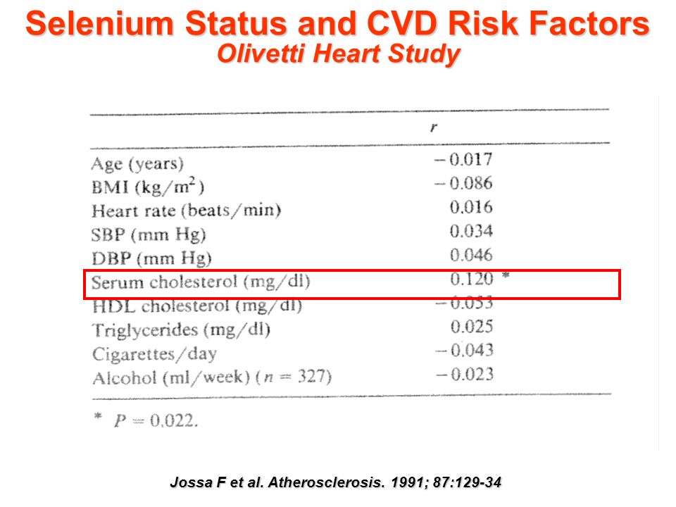 Selenium Status and CVD Risk Factors Olivetti Heart Study