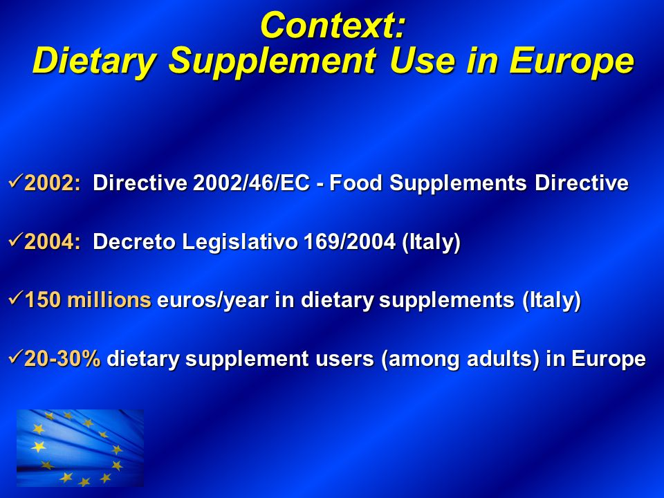 Context: Dietary Supplement Use in Europe