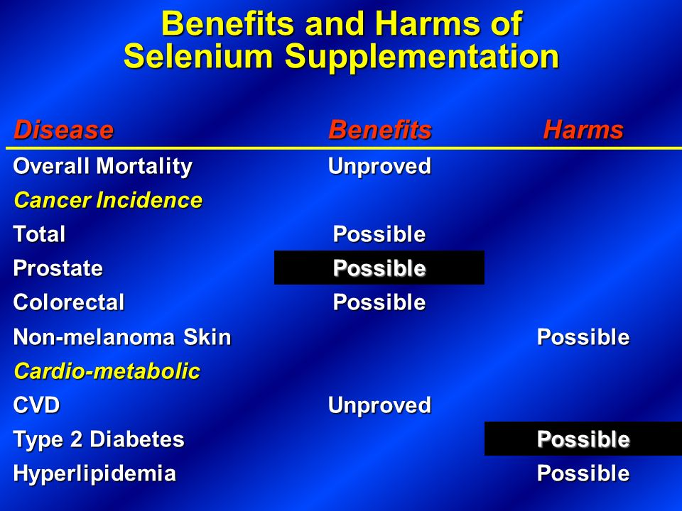 Benefits and Harms of Selenium Supplementation