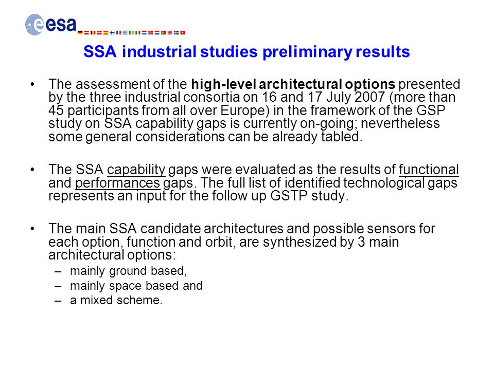 SSA industrial studies preliminary results