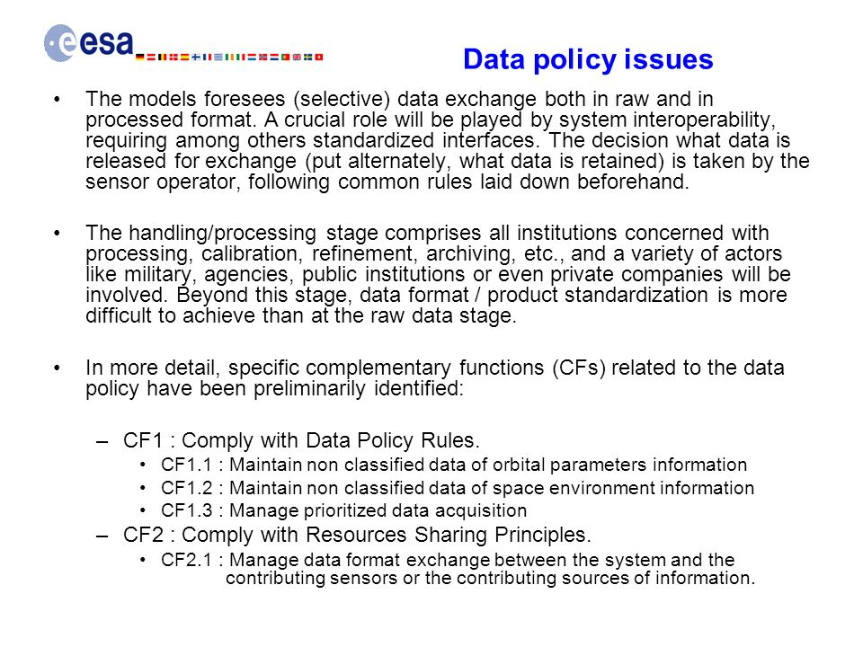 Data policy issues