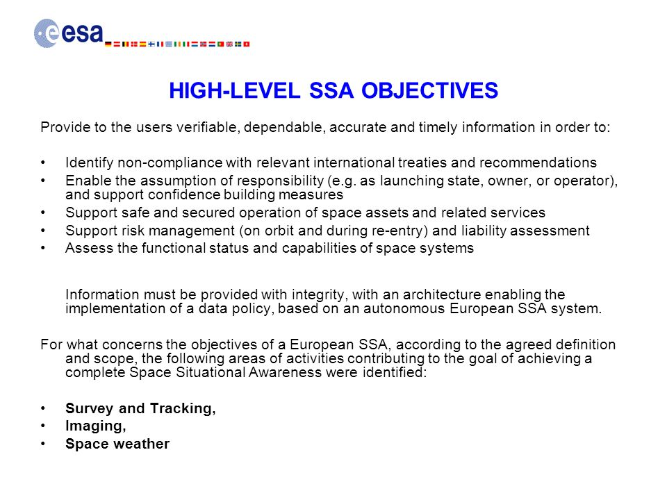 HIGH-LEVEL SSA OBJECTIVES