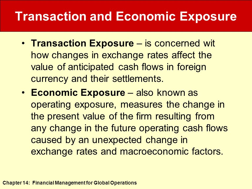 Transaction Exposure, an exchange rate risk