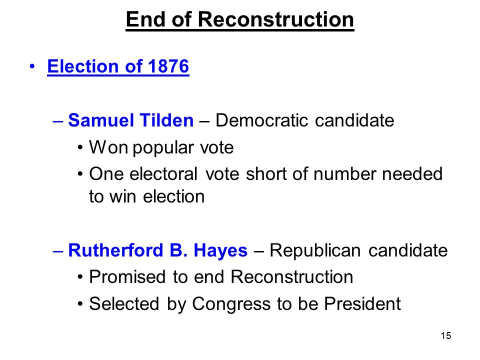 End of Reconstruction Election of 1876