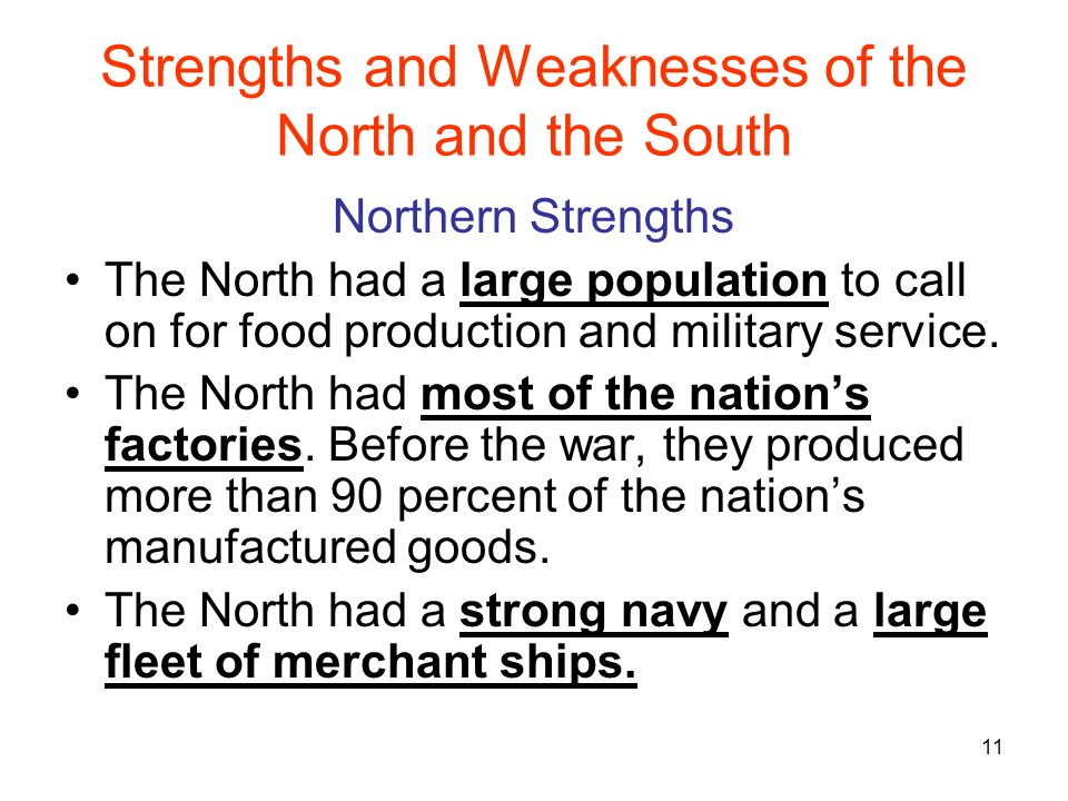 strengths and weaknesses of the north Strengths and weaknesses north and south (civil war)  study play north strength large navy and fleet of trading ships north strength 70% of nations rail lines to transport food and troops north strength 4x free population to volunteer in army and work in factories north strength.