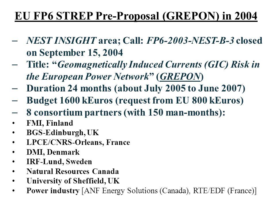 EU FP6 STREP Pre-Proposal (GREPON) in 2004