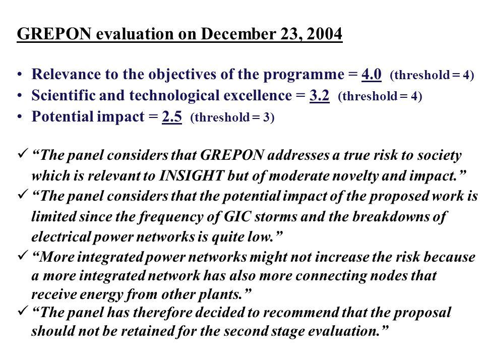 GREPON evaluation on December 23, 2004