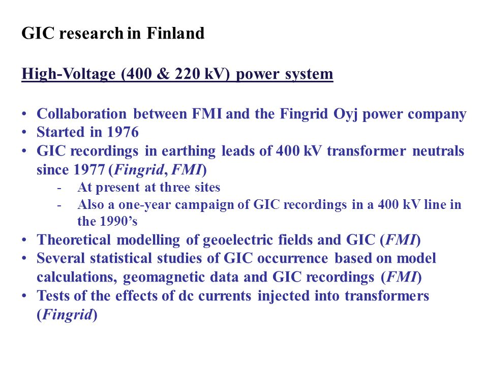 GIC research in Finland