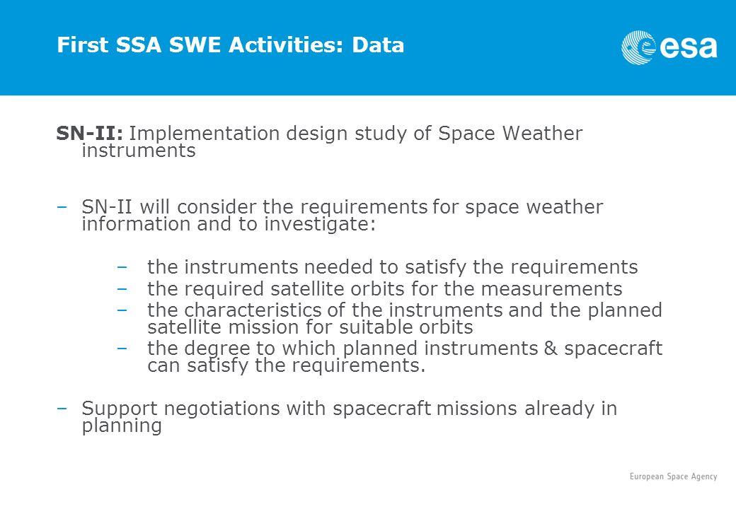 First SSA SWE Activities: Data