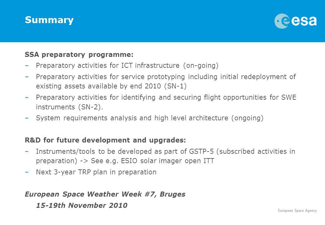 Summary SSA preparatory programme: