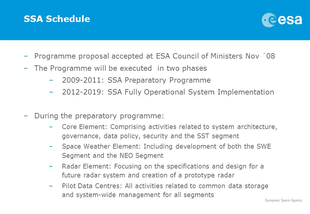 SSA Schedule Programme proposal accepted at ESA Council of Ministers Nov ´08. The Programme will be executed in two phases.