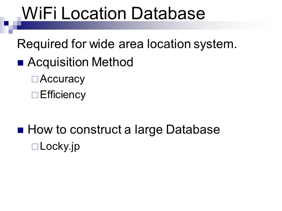 WiFi Location Database