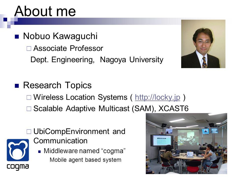 About me Nobuo Kawaguchi Research Topics Associate Professor