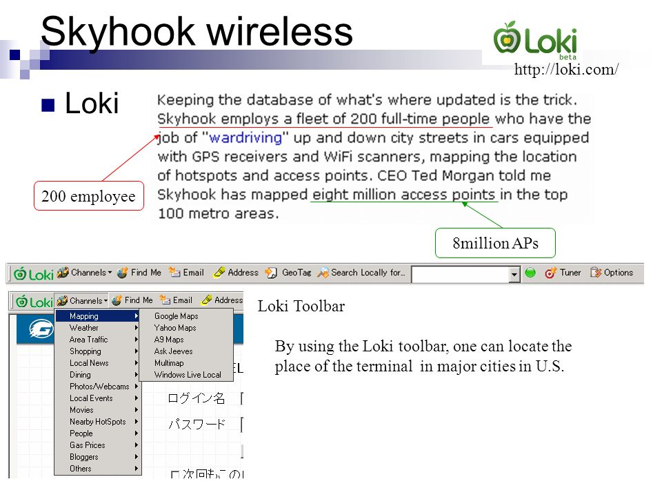 Skyhook wireless Loki http://loki.com/ 200 employee 8million APs