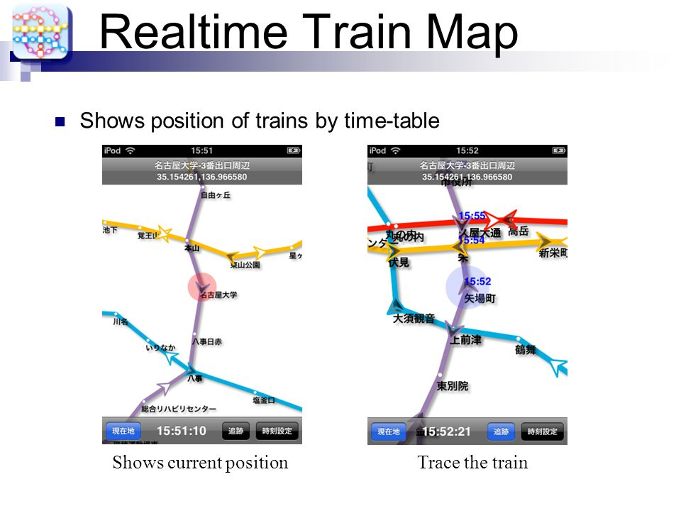 Realtime Train Map Shows position of trains by time-table