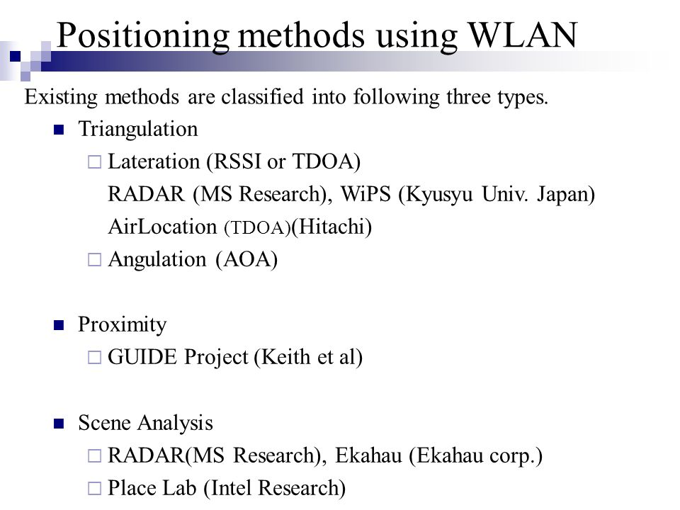 Positioning methods using WLAN