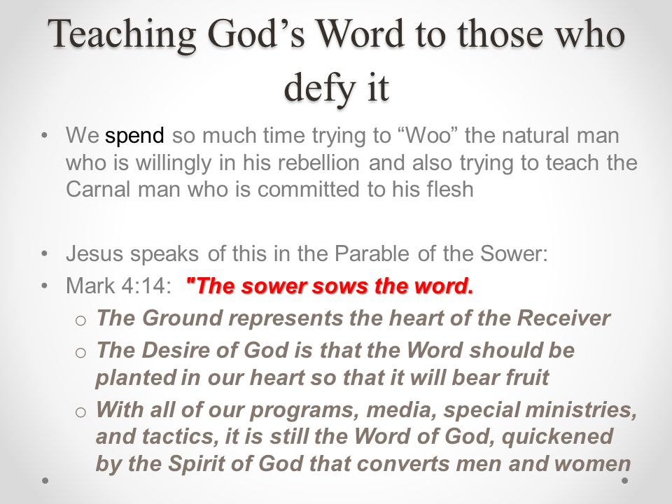 Teaching God's Word to those who defy it