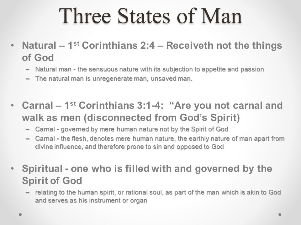 Three States of Man Natural – 1st Corinthians 2:4 – Receiveth not the things of God.