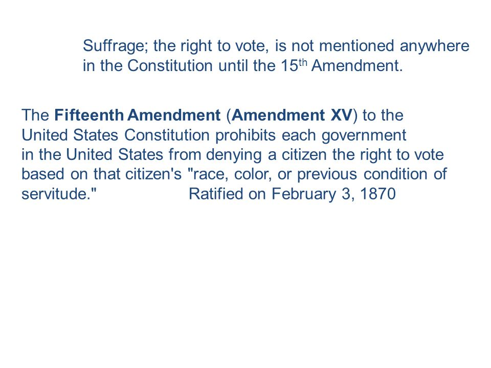 the right of citizens to vote in the united states Voting rights and the 14th  how was it that its provisions did not give women the right to vote  the right of citizens of the united states to vote shall.