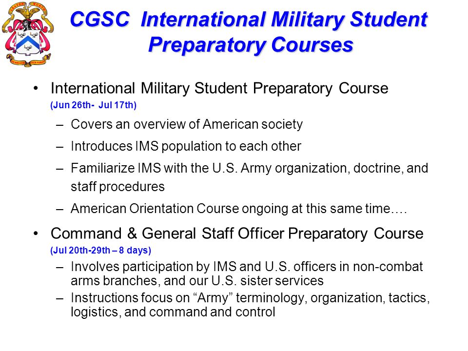 CGSC International Military Student Preparatory Courses
