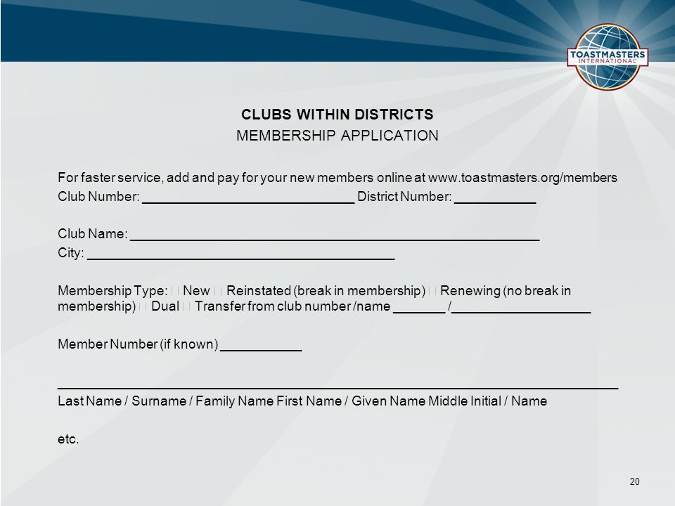 CLUBS WITHIN DISTRICTS MEMBERSHIP APPLICATION