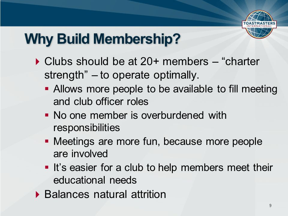 Why Build Membership Clubs should be at 20+ members – charter strength – to operate optimally.