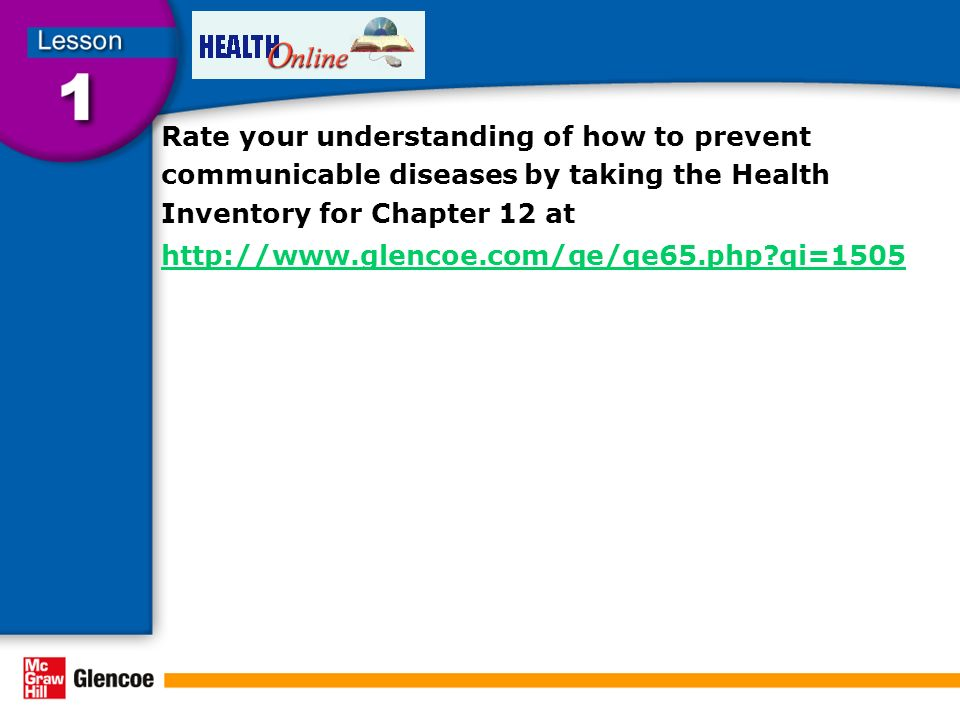 Rate your understanding of how to prevent communicable diseases by taking the Health Inventory for Chapter 12 at