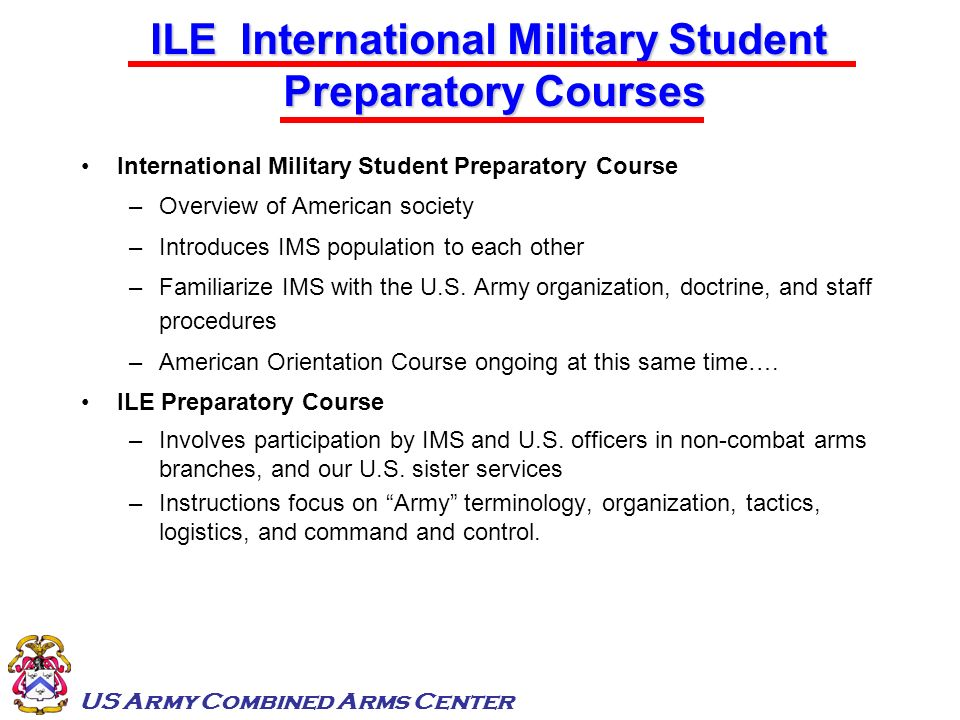 ILE International Military Student Preparatory Courses