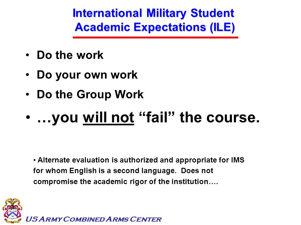 International Military Student Academic Expectations (ILE)