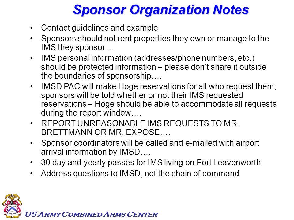 Sponsor Organization Notes
