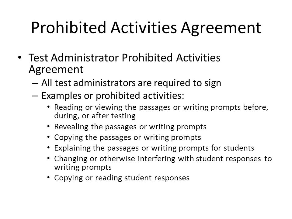 Prohibited Activities Agreement