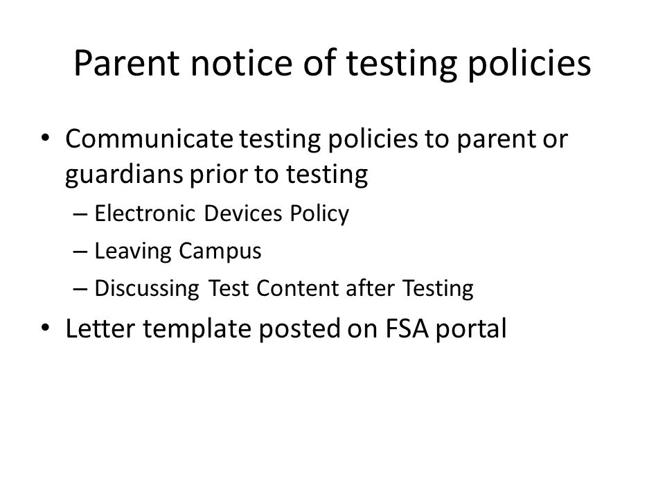 Parent notice of testing policies