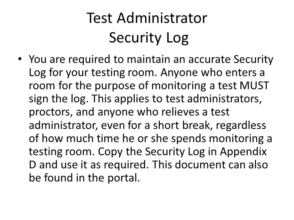 Test Administrator Security Log
