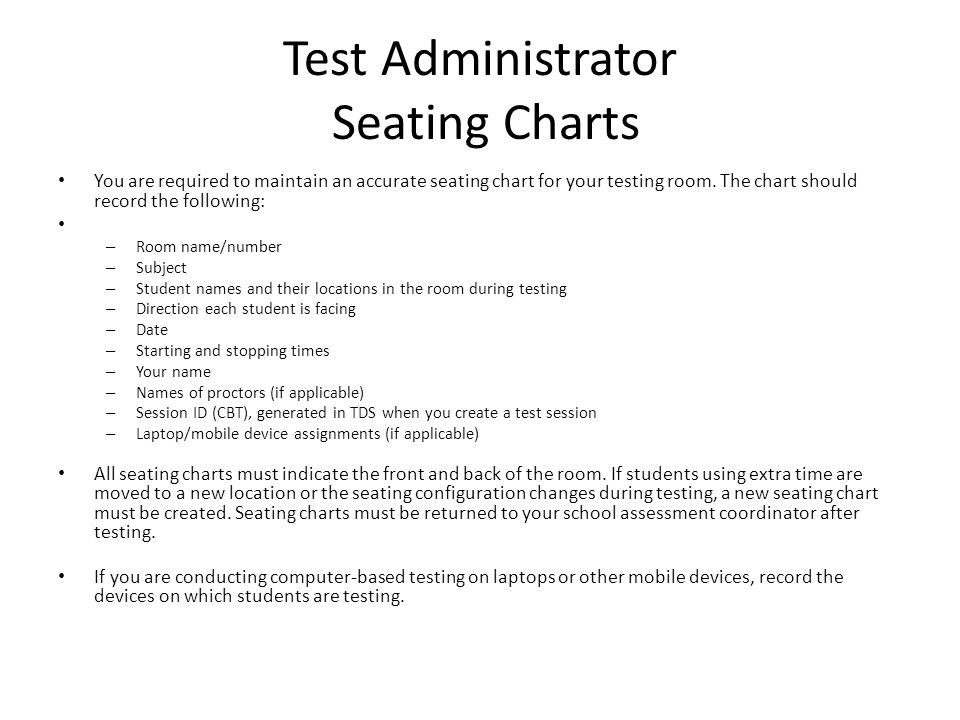 Test Administrator Seating Charts