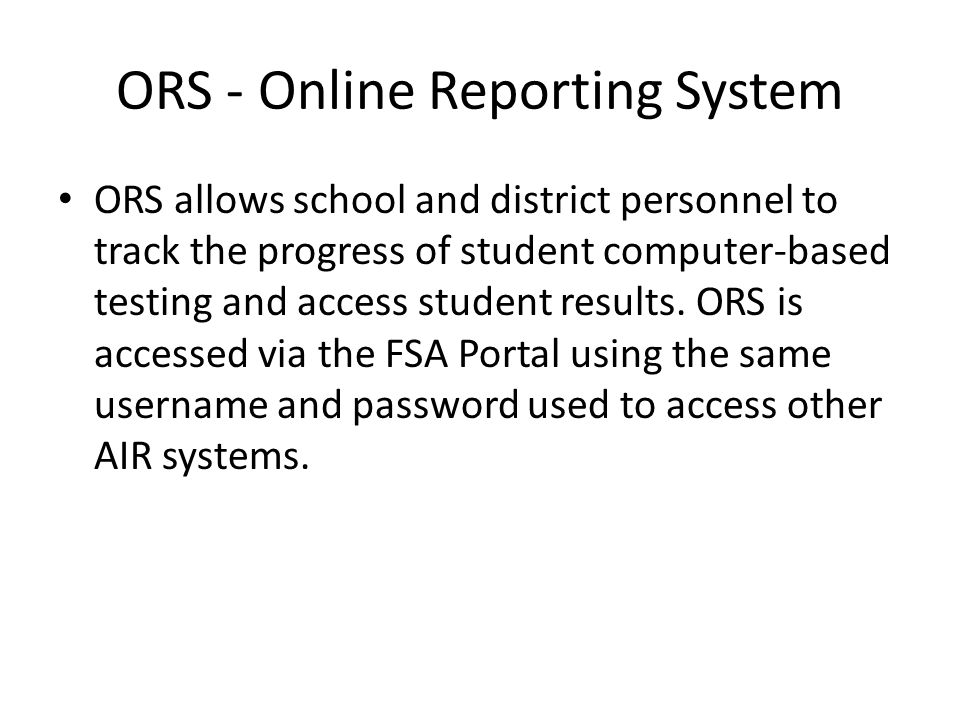 ORS - Online Reporting System
