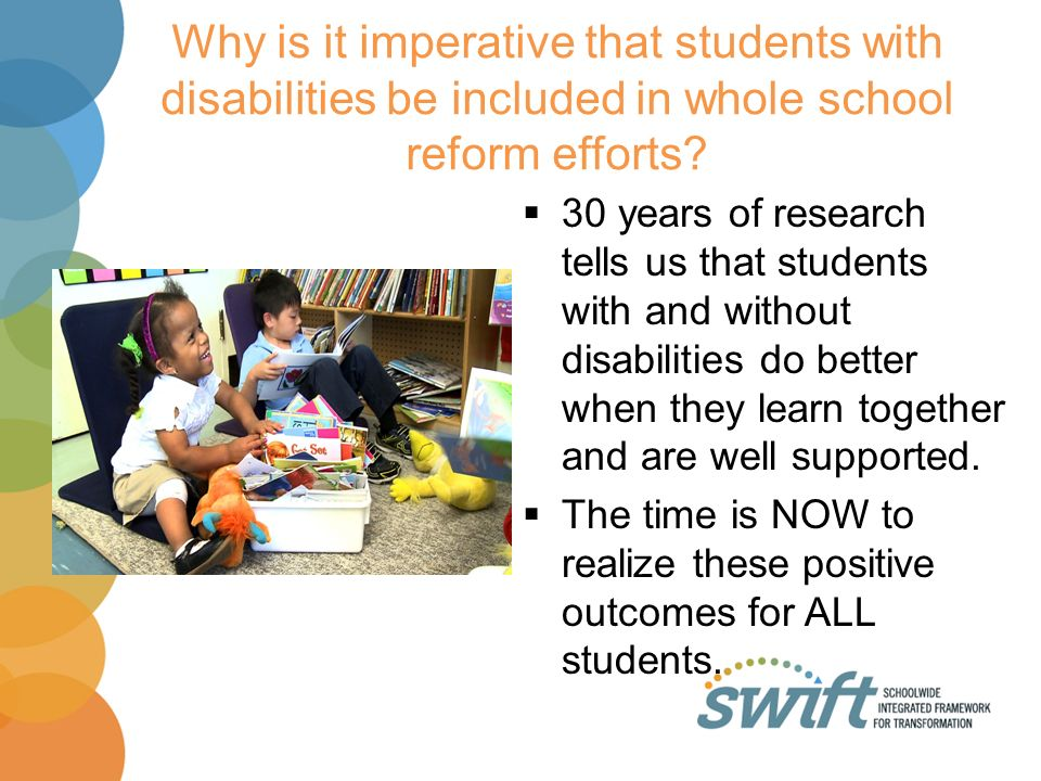 Why is it imperative that students with disabilities be included in whole school reform efforts