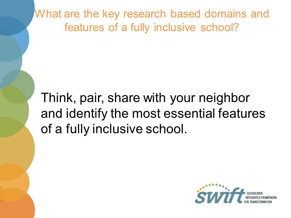 What are the key research based domains and features of a fully inclusive school