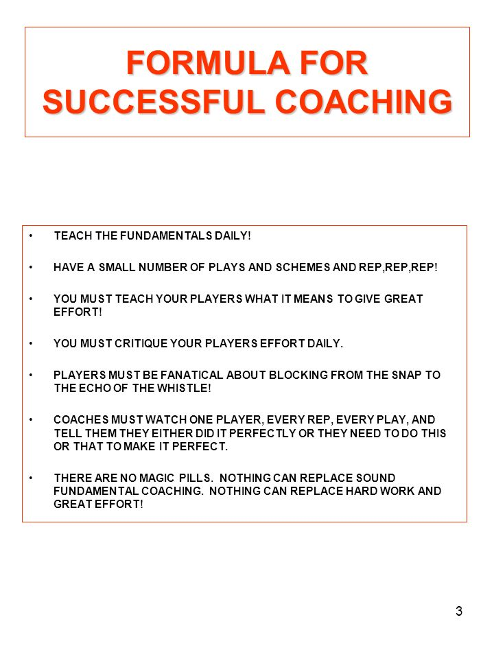 FORMULA FOR SUCCESSFUL COACHING