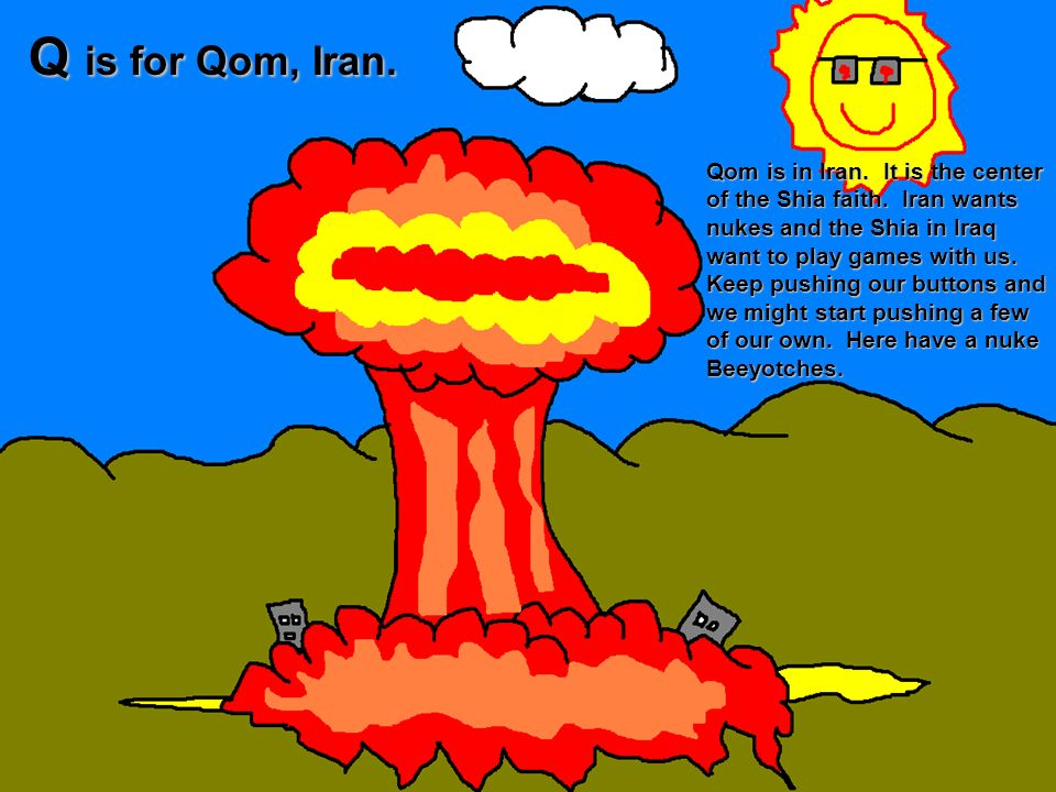 Q is for Qom, Iran.