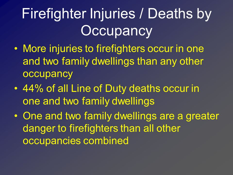 Firefighter Injuries / Deaths by Occupancy
