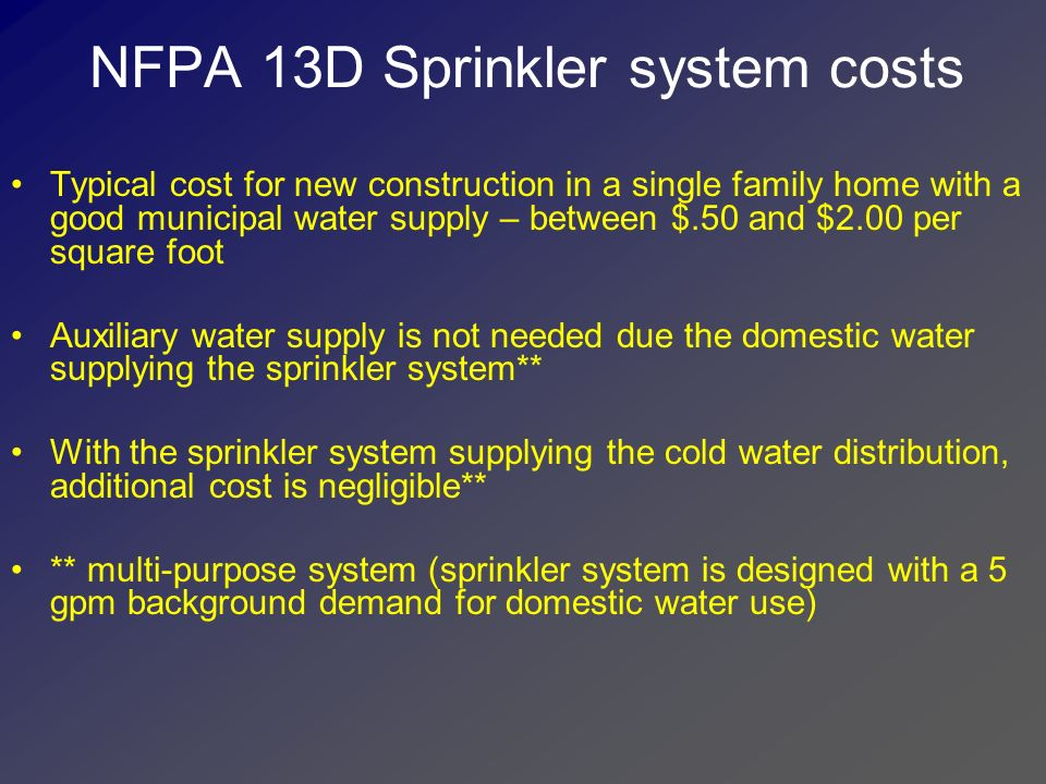 NFPA 13D Sprinkler system costs