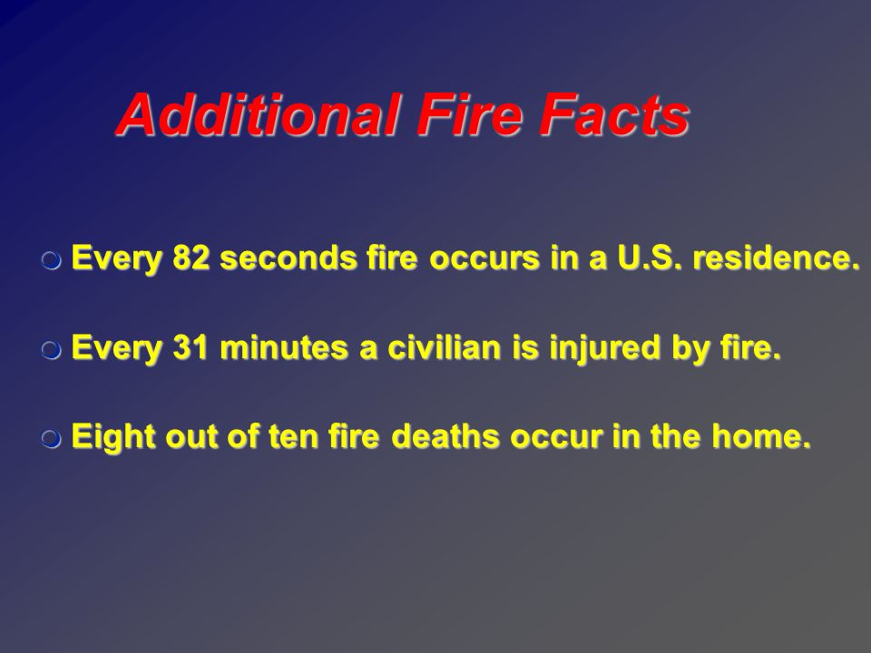 9 Additional Fire Facts. Every 82 seconds fire occurs in a U.S. residence. Every 31 minutes a civilian is injured by fire.