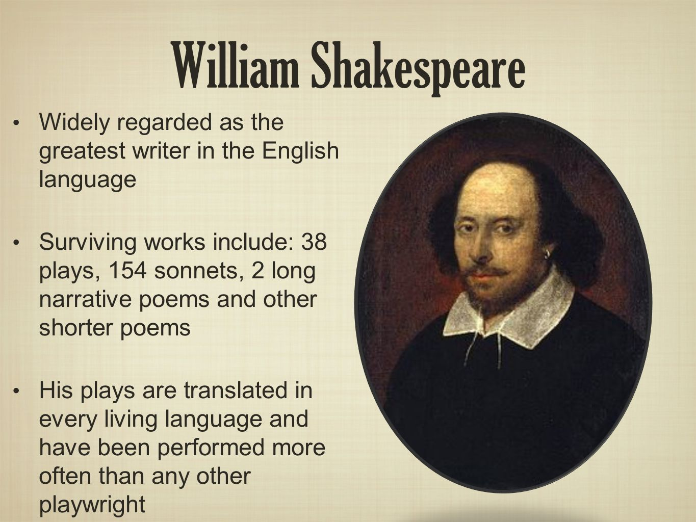 a description of william shakespeare as the greatest playwright of the english language William shakespeare is widely regarded as the greatest writer in the english language and the world's pre-eminent dramatist his plays remain highly popular today and are constantly studied, performed and reinterpreted in diverse cultural and political contexts throughout the world.