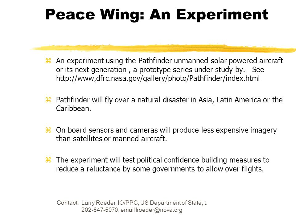 Peace Wing: An Experiment