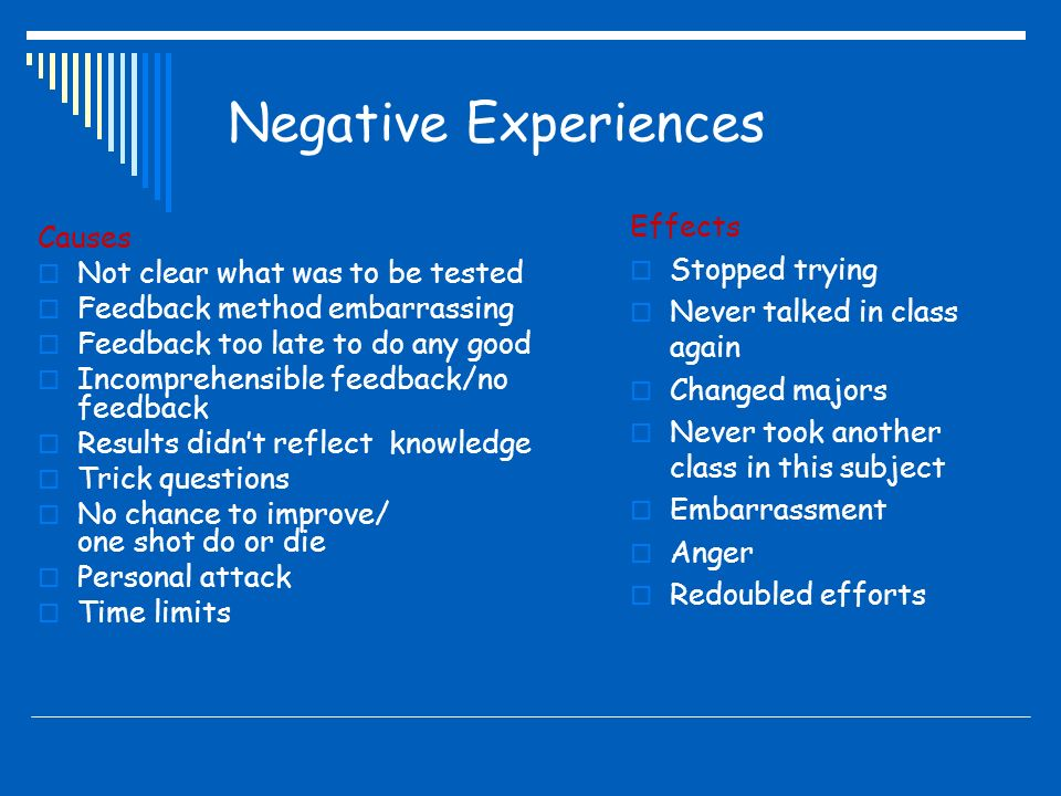 Positive negative experiences on the development of