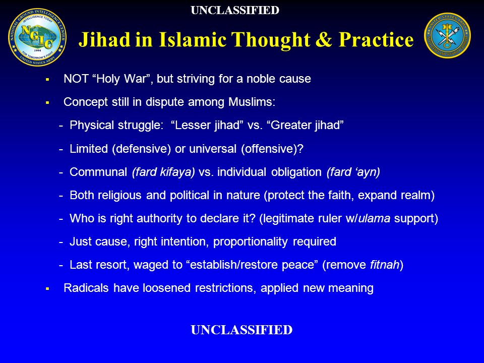 Jihad in Islamic Thought & Practice