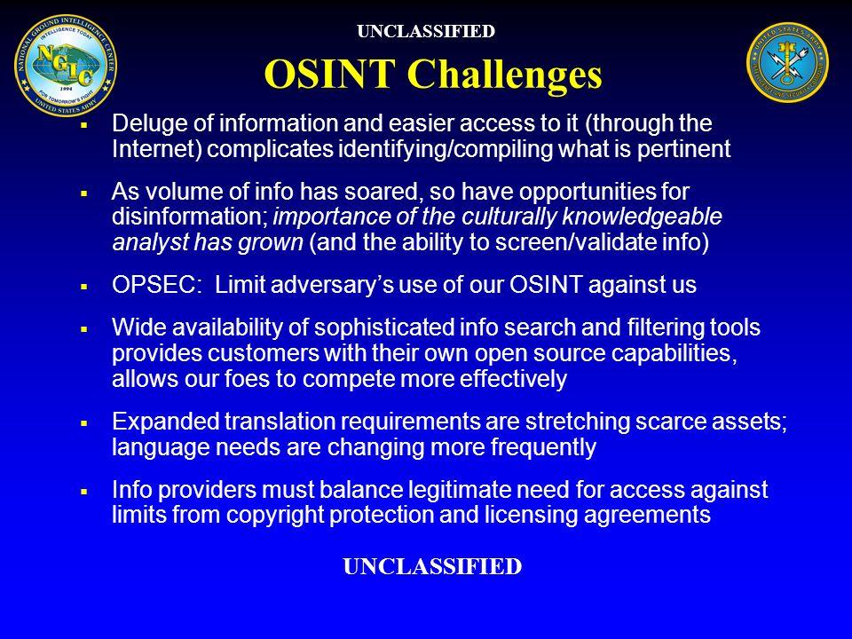 UNCLASSIFIEDOSINT Challenges.