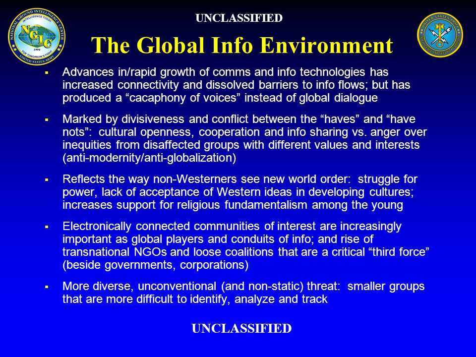 The Global Info Environment