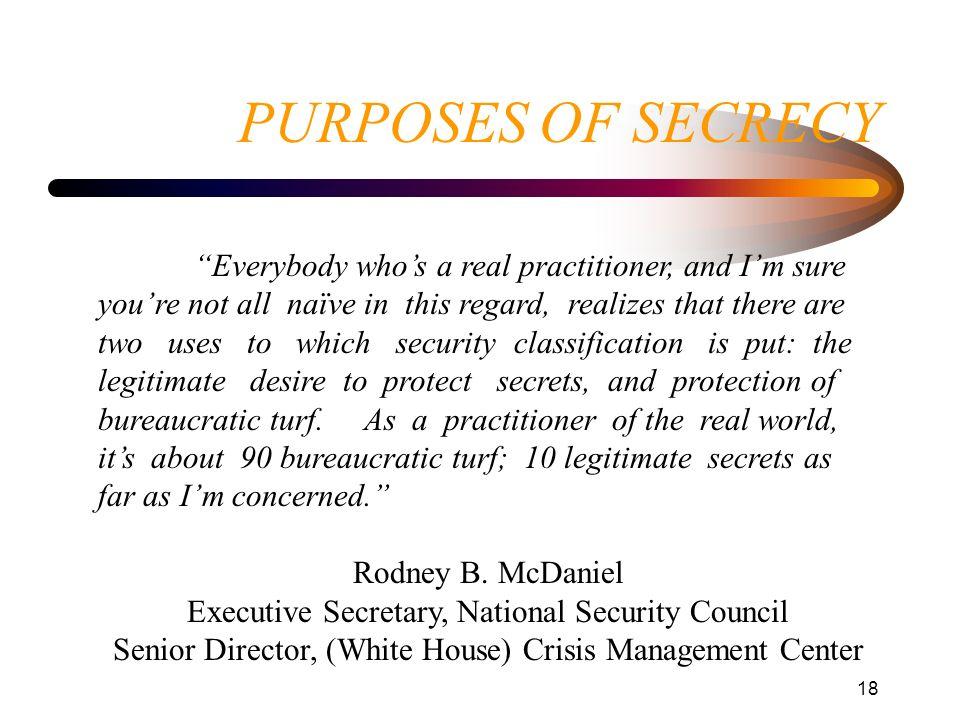 PURPOSES OF SECRECY