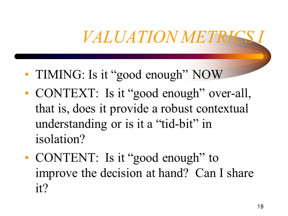 VALUATION METRICS I TIMING: Is it good enough NOW
